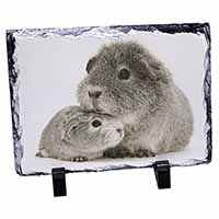 Two Silver Guinea Pigs Photo Slate Christmas Gift Ornament