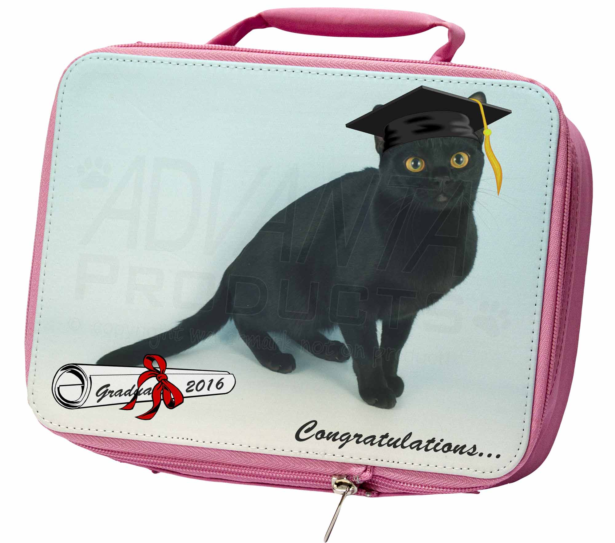 Graduation Black Cat 'Congratulations 2016' Insulated Pink School Lun, GRAD5LBP
