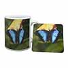 Butterflies Mug+Coaster Christmas/Birthday Gift Idea