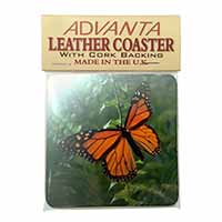 Red Butterfly in the Mist Single Leather Photo Coaster Perfect Gift