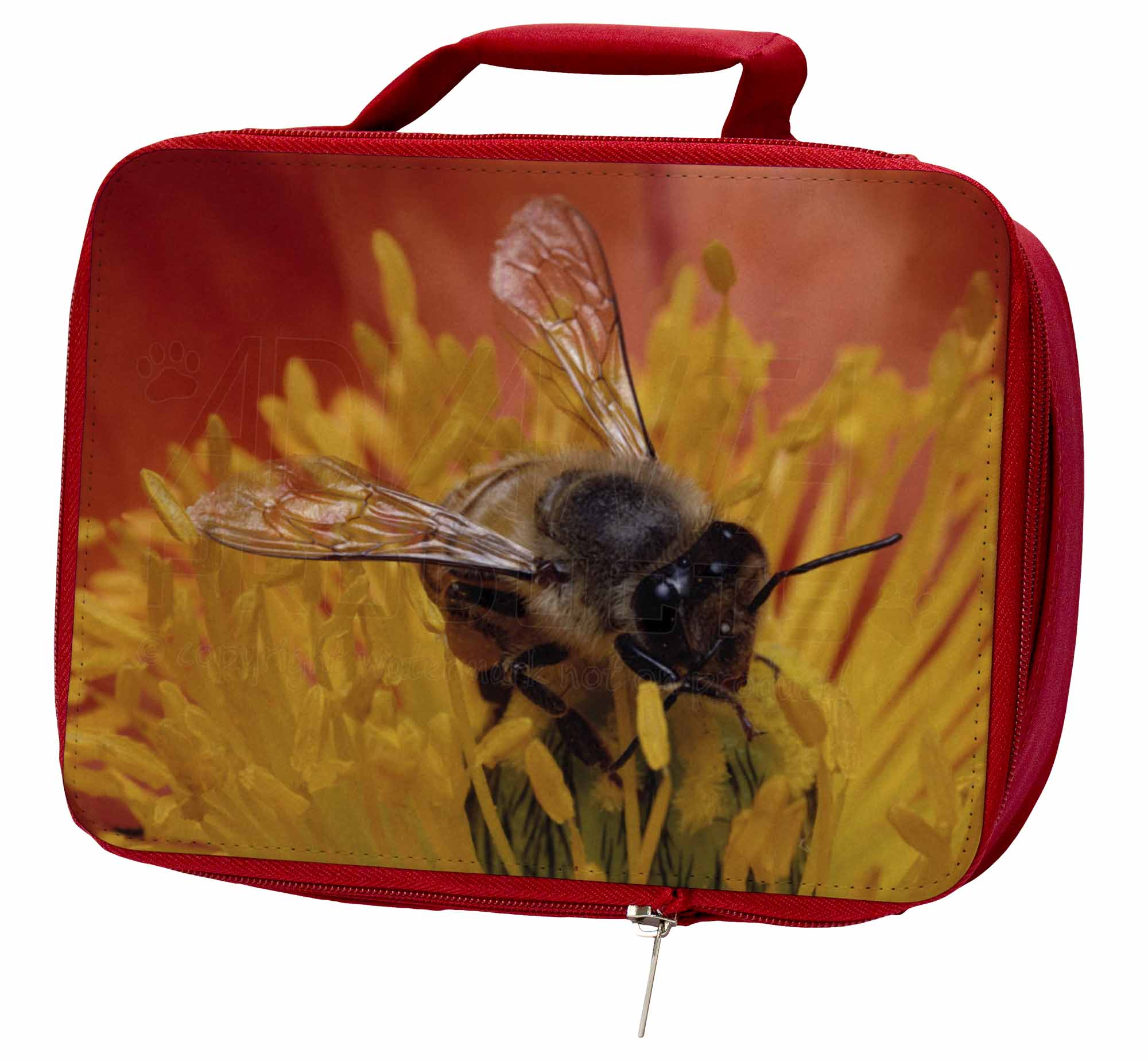 Honey Bee on Flower Insulated Red School Lunch IBE-1LBR Box/Picnic Bag, IBE-1LBR Lunch 55a185