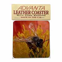 Honey Bee on Flower Single Leather Photo Coaster Perfect Gift