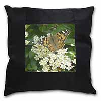 Painted Lady Butterfly Black Border Satin Feel Scatter Cushion