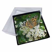 4x Painted Lady Butterfly Picture Table Coasters Set in Gift Box