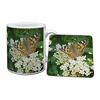 Painted Lady Butterfly Mug+Coaster Birthday Gift Idea