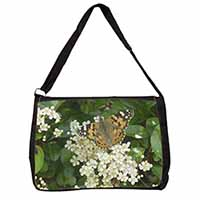 Painted Lady Butterfly Large Black Laptop Shoulder Bag School/College