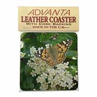 Painted Lady Butterfly Single Leather Photo Coaster Perfect Gift