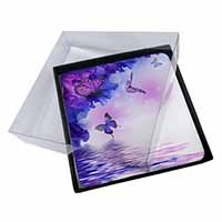 4x ButterFlies Picture Table Coasters Set in Gift Box