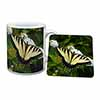 Pretty Black and Yellow Butterfly Mug+Coaster Christmas/Birthday Gift Idea