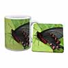 Black and Red Butterflies Mug+Coaster Christmas/Birthday Gift Idea