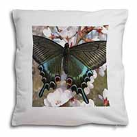 Black and Blue Butterfly Soft Velvet Feel Cushion Cover With Pillow Inner