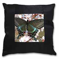 Black and Blue Butterfly Black Border Satin Feel Cushion Cover+Pillow Insert