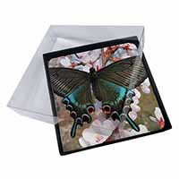 4x Black and Blue Butterfly Picture Table Coasters Set in Gift Box