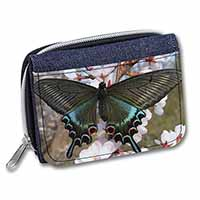 Black and Blue Butterfly Girls/Ladies Denim Purse Wallet Birthday Gift Idea