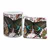 Black and Blue Butterfly Mug+Coaster Christmas/Birthday Gift Idea