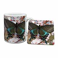 Black and Blue Butterfly Mug+Coaster Birthday Gift Idea
