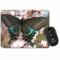 Black and Blue Butterfly Computer Mouse Mat Birthday Gift Idea
