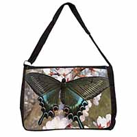 Black and Blue Butterfly Large Black Laptop Shoulder Bag School/College
