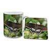 Butterflies, Brown Butterfly Mug+Coaster Christmas/Birthday Gift Idea