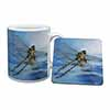 Dragonflies,Dragonfly Over Water,Print Mug+Coaster Christmas/Birthday Gift Idea