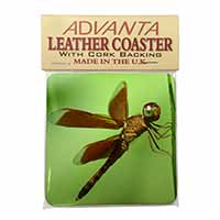 Dragonflies, Close-Up Dragonfly Print Single Leather Photo Coaster Perfect Gift