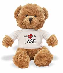 Adopted By JASE Teddy Bear Wearing a Personalised Name T-Shirt