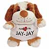 Adopted By JAY-JAY Cuddly Dog Teddy Bear Wearing a Printed Named T-Shirt