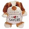 Adopted By LAYCEE Cuddly Dog Teddy Bear Wearing a Printed Named T-Shirt