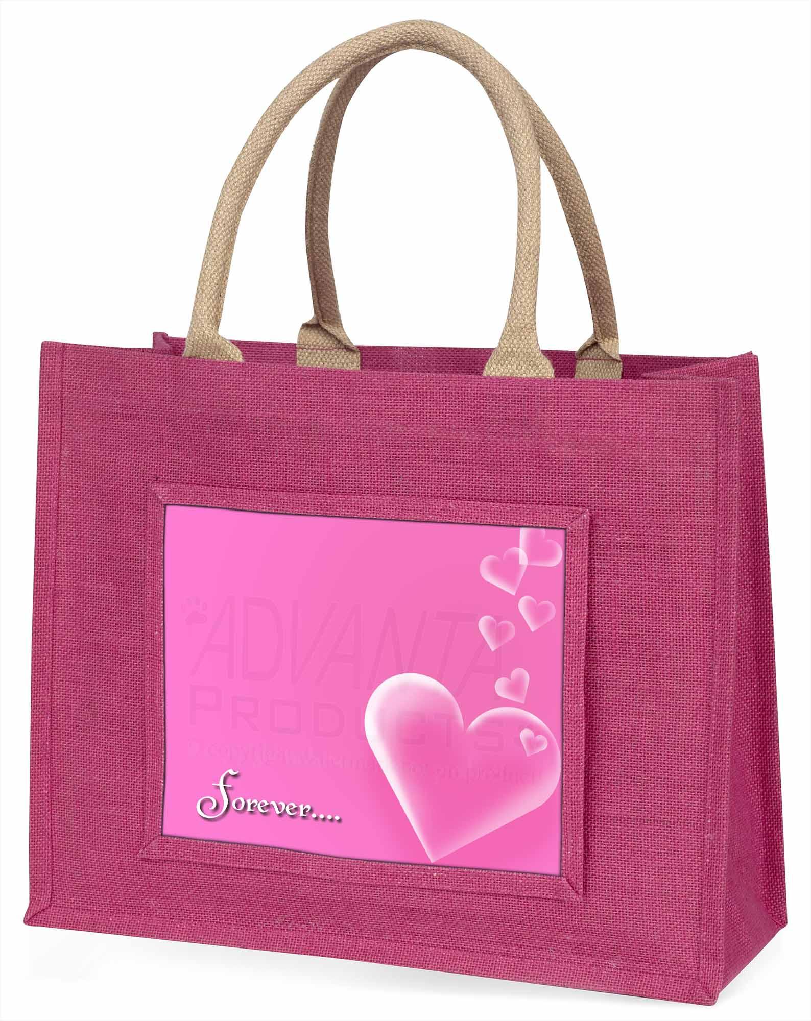 rosa Herzen 'Forever' Stimmung große Einkaufstasche WEIHNACHTEN vor, love-2blp