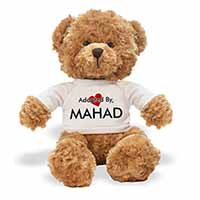 Adopted By MAHAD Teddy Bear Wearing a Personalised Name T-Shirt