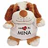 Adopted By MINA Cuddly Dog Teddy Bear Wearing a Printed Named T-Shirt