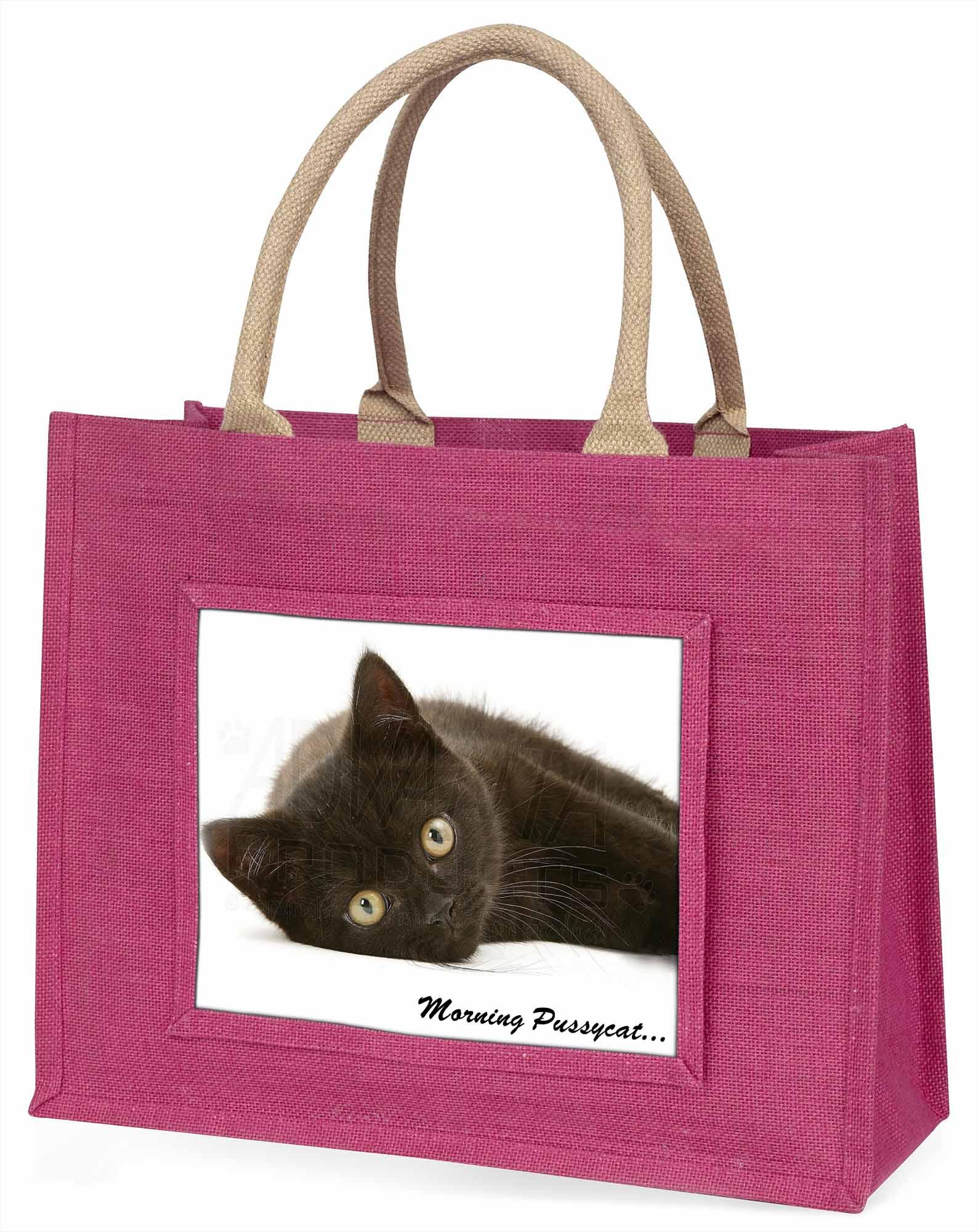 schwarze Katze 'Morning Pussycat' große rosa Einkaufstasche WEIHNACHTEN Presen,