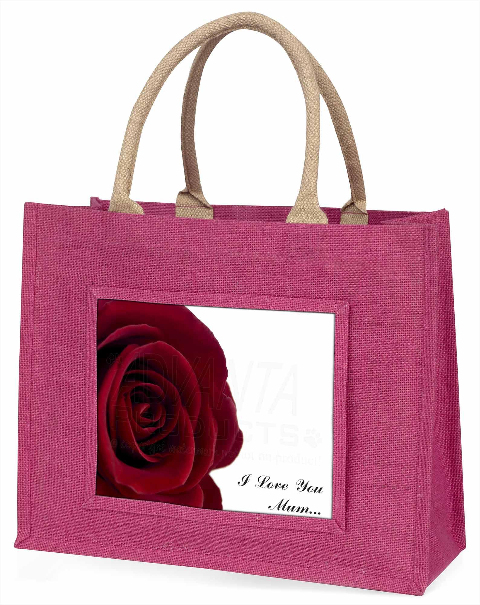 Rote Rose 'I Love You Mum 'große rosa Einkaufstasche Weihnachtsgeschenk