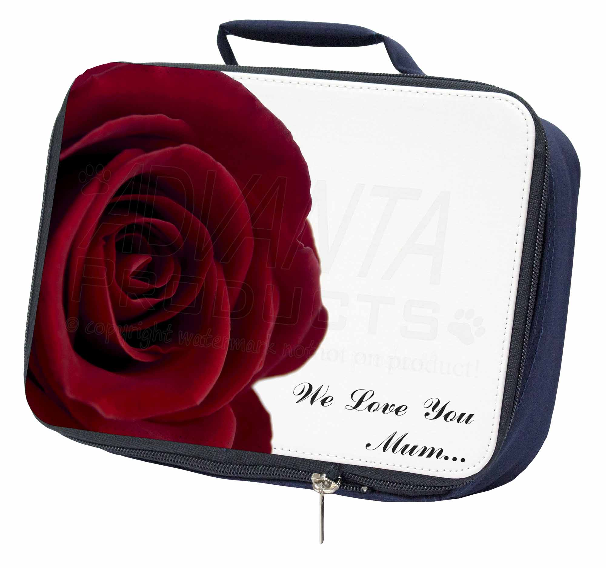 Discreto Red Rose 'we Love You Mum' Navy Insulated School Lunch Box Bag, Mum-r2lbn