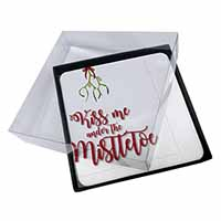 4x Kiss Me Under The Mistletoe Picture Table Coasters Set in Gift Box
