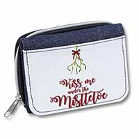 Kiss Me Under The Mistletoe Girls/Ladies Denim Purse Wallet Birthday Gift Idea