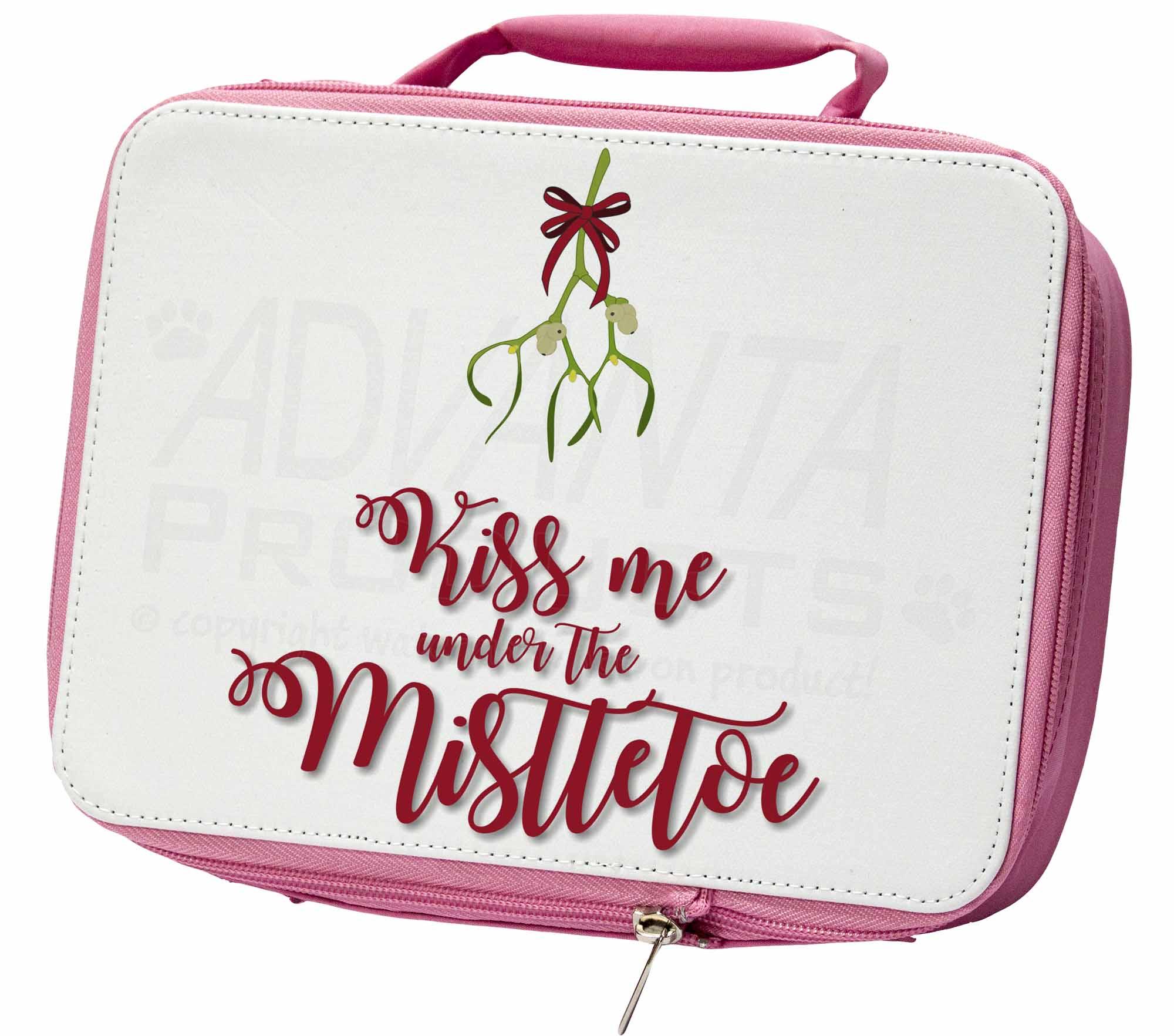 Capace Kiss Me Sotto Il Vischio Rosa Isolata Scuola Pranzo Box Sacchetto, Vischio 1lbp-mostra Il Titolo Originale