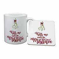 Kiss Me Under The Mistletoe Mug+Coaster Birthday Gift Idea