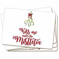 Kiss Me Under The Mistletoe Picture Placemats in Gift Box