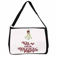 Kiss Me Under The Mistletoe Large Black Laptop Shoulder Bag School/College
