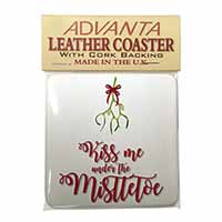 Kiss Me Under The Mistletoe Single Leather Photo Coaster Perfect Gift