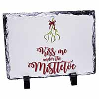 Kiss Me Under The Mistletoe Photo Slate Photo Ornament Gift
