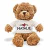 Adopted By NATALIE Teddy Bear Wearing a Personalised Name T-Shirt