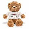 Adopted By NAYLA Teddy Bear Wearing a Personalised Name T-Shirt