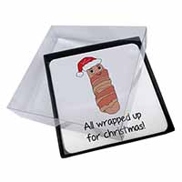 4x Christmas Pig In Blanket Picture Table Coasters Set in Gift Box