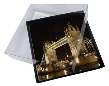 4x London Tower Bridge Print Picture Table Coasters Set in Gift Box