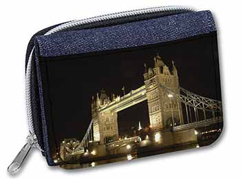 London Tower Bridge Print Girls/Ladies Denim Purse Wallet Birthday Gift Idea