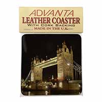London Tower Bridge Print Single Leather Photo Coaster Animal Breed Gift