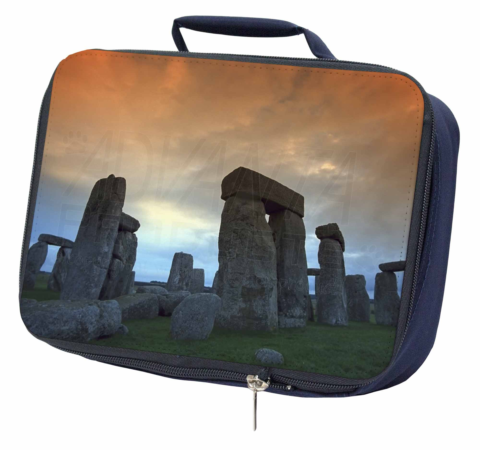 Utile Stonehenge Solstice Sunset Navy Insulated School Lunch Box Bag, Pla-sh1lbn