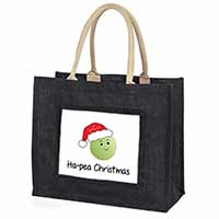 Christmas Pea Large Black Shopping Bag Birthday Present Idea